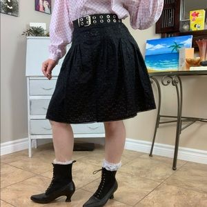 Broderie Anglaise Black Lace A-line Skirt